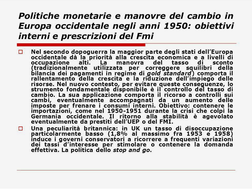 Politiche monetarie e manovre del cambio in Europa occidentale negli anni 1950: obiettivi interni e prescrizioni del Fmi Nel secondo dopoguerra la mag