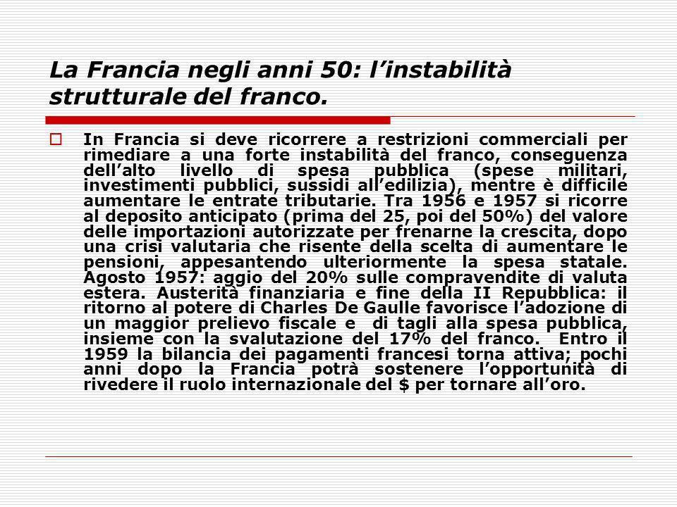 La Francia negli anni 50: linstabilità strutturale del franco. In Francia si deve ricorrere a restrizioni commerciali per rimediare a una forte instab