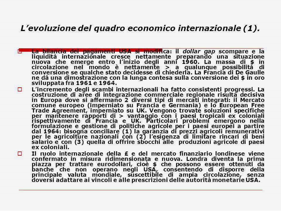 Levoluzione del quadro economico internazionale (1). La bilancia dei pagamenti USA si modifica: il dollar gap scompare e la liquidità internazionale c