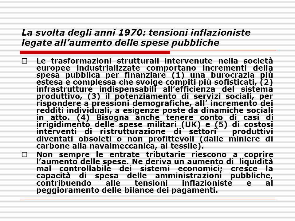 La svolta degli anni 1970: tensioni inflazioniste legate allaumento delle spese pubbliche Le trasformazioni strutturali intervenute nella società euro
