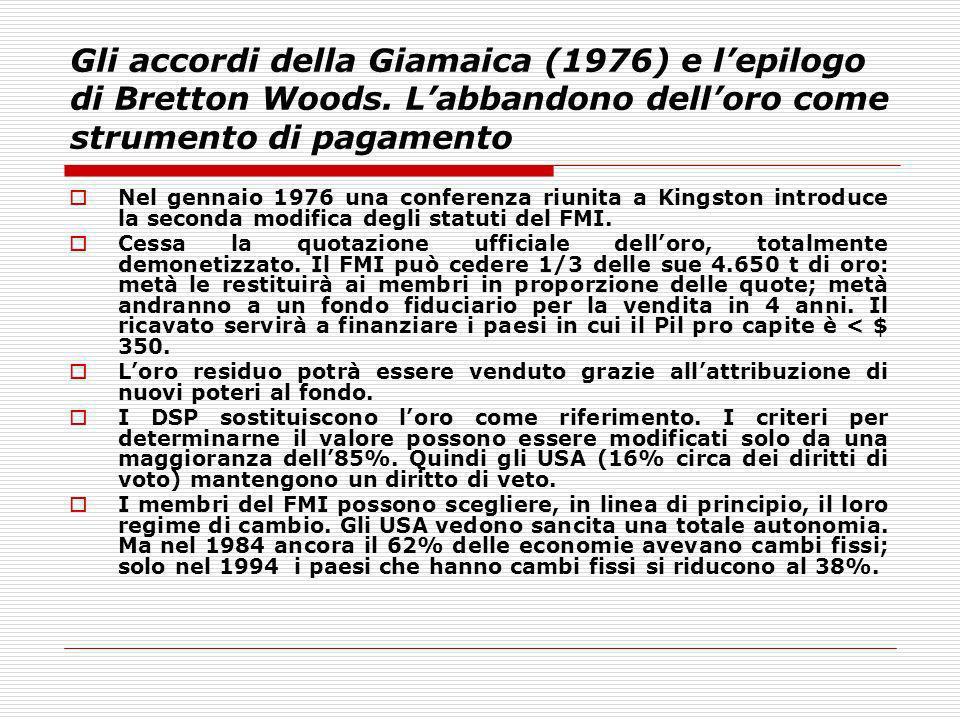 Gli accordi della Giamaica (1976) e lepilogo di Bretton Woods. Labbandono delloro come strumento di pagamento Nel gennaio 1976 una conferenza riunita
