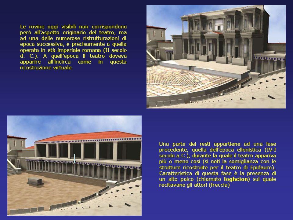 Lorchestra e la parte inferiore della cavea del teatro di Dioniso visti da NE. Da questa immagine, come dalla precedente, si nota come il pendio della