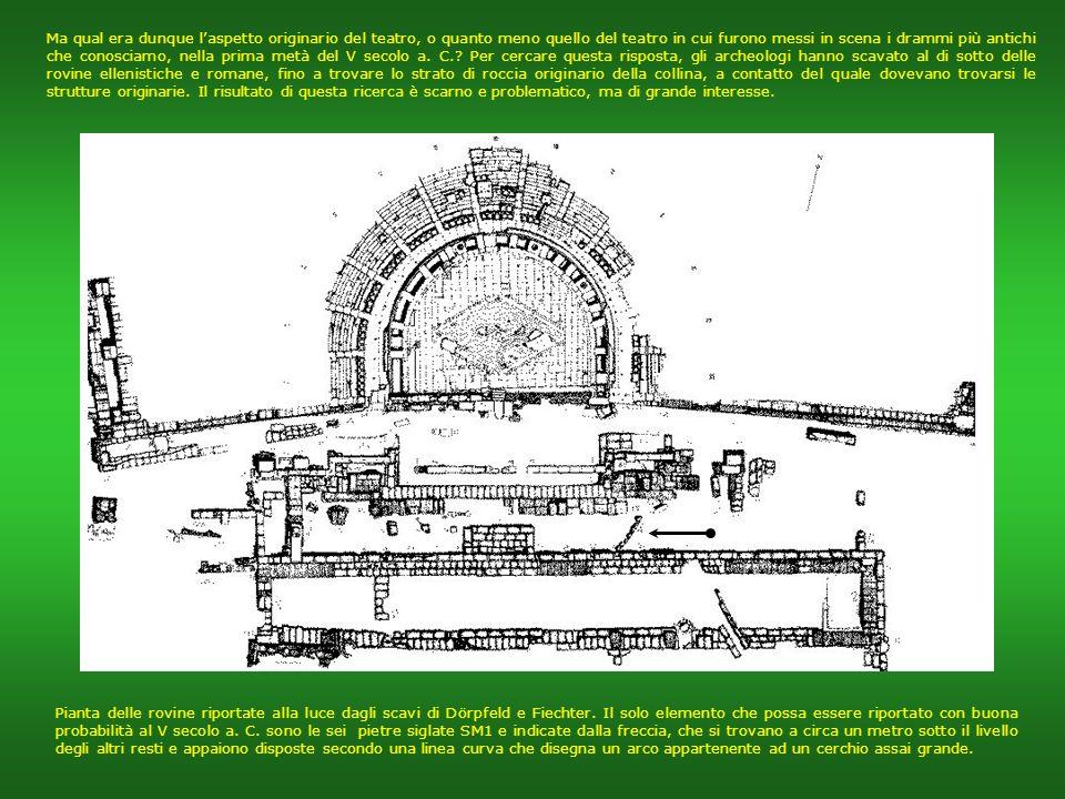 Le rovine oggi visibili non corrispondono però allaspetto originario del teatro, ma ad una delle numerose ristrutturazioni di epoca successiva, e prec
