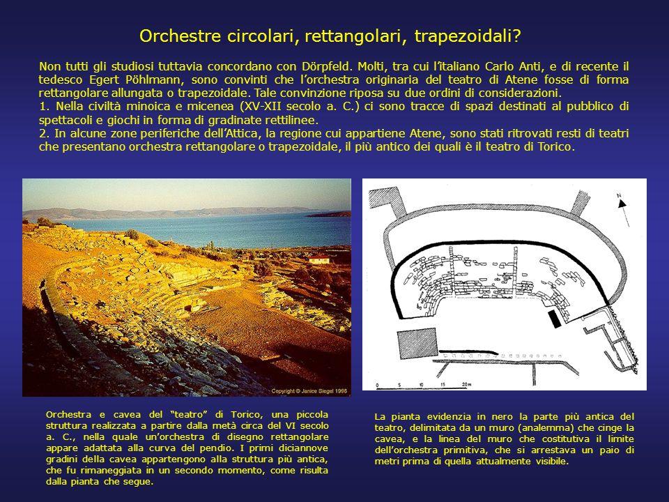 La ricostruzione di Dörpfeld, largamente condivisa tra gli studiosi, parte dallidea che nei teatri greci fin dalle origini la forma dellorchestra sia