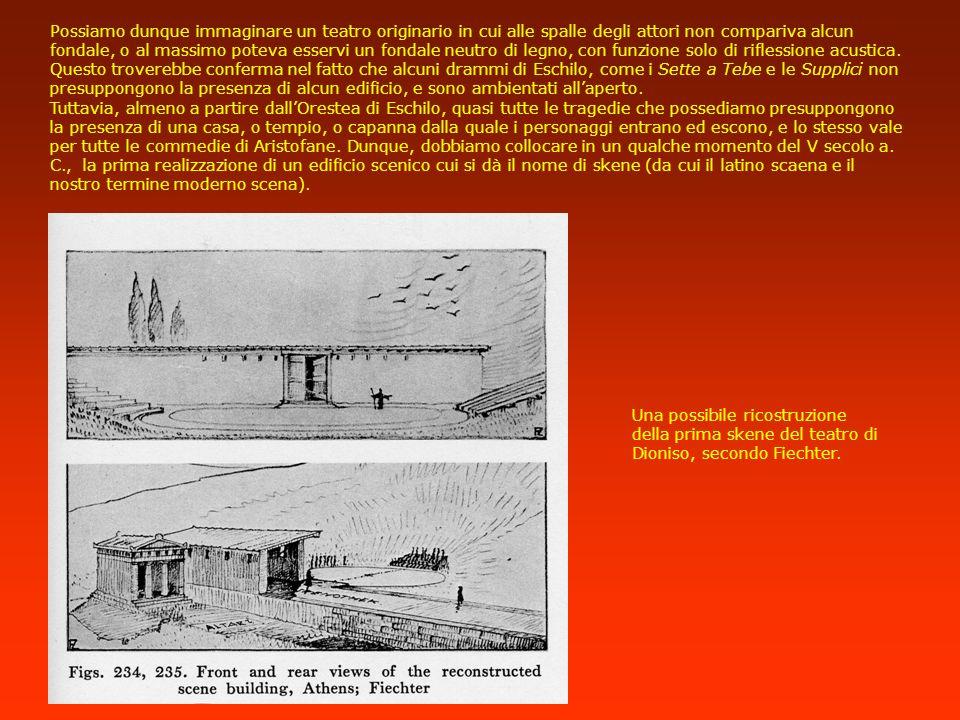 Il problema della skene Torniamo adesso alla prima sistemazione dellarea teatrale di Atene, che comprendeva probabilmente solo tre elementi essenziali