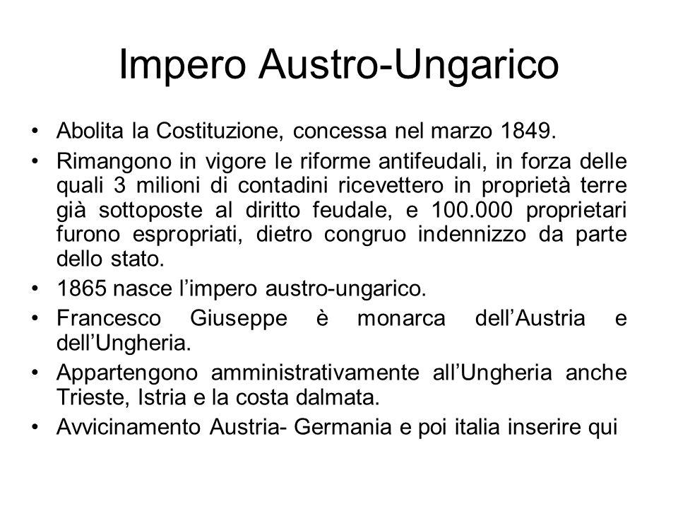 Impero Austro-Ungarico Abolita la Costituzione, concessa nel marzo 1849. Rimangono in vigore le riforme antifeudali, in forza delle quali 3 milioni di