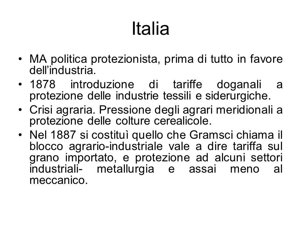 Italia MA politica protezionista, prima di tutto in favore dellindustria. 1878 introduzione di tariffe doganali a protezione delle industrie tessili e