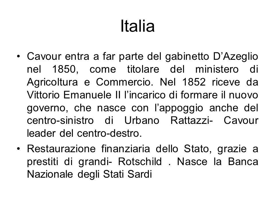 Italia Cavour entra a far parte del gabinetto DAzeglio nel 1850, come titolare del ministero di Agricoltura e Commercio. Nel 1852 riceve da Vittorio E