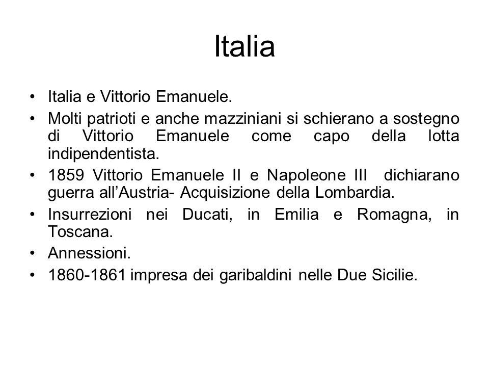 Italia Italia e Vittorio Emanuele. Molti patrioti e anche mazziniani si schierano a sostegno di Vittorio Emanuele come capo della lotta indipendentist