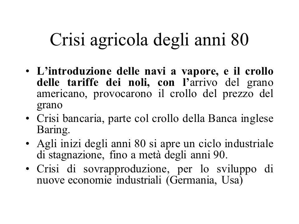 Crisi agricola degli anni 80 Lintroduzione delle navi a vapore, e il crollo delle tariffe dei noli, con larrivo del grano americano, provocarono il cr