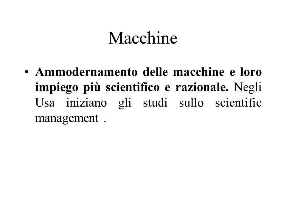 Macchine Ammodernamento delle macchine e loro impiego più scientifico e razionale. Negli Usa iniziano gli studi sullo scientific management.