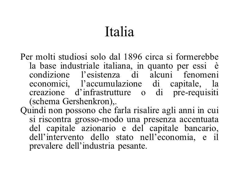 Italia Per molti studiosi solo dal 1896 circa si formerebbe la base industriale italiana, in quanto per essi è condizione lesistenza di alcuni fenomen