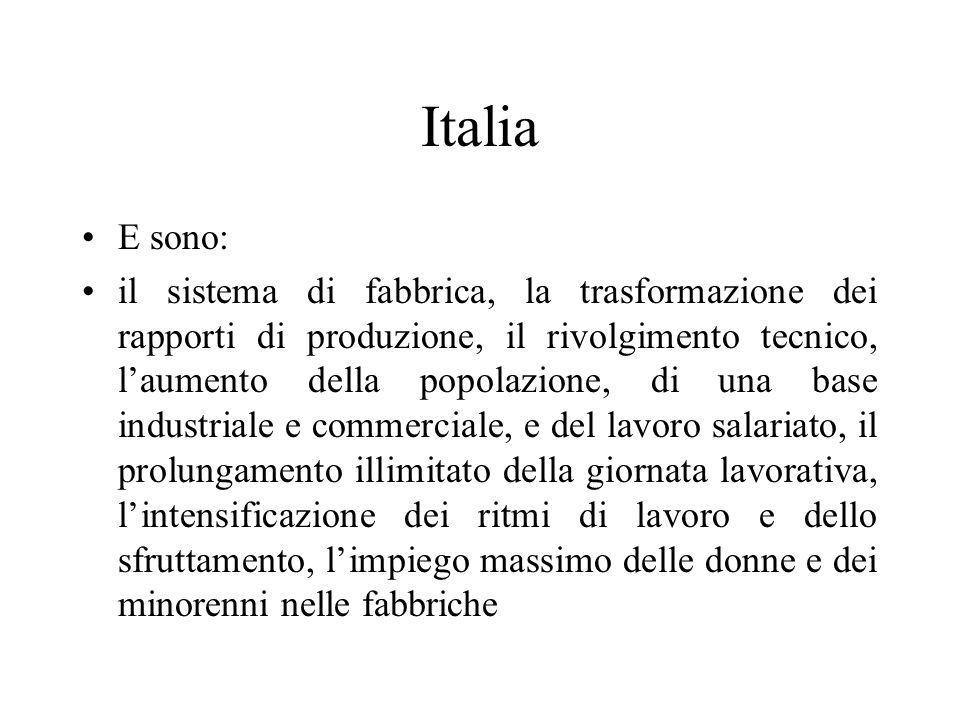 Italia E sono: il sistema di fabbrica, la trasformazione dei rapporti di produzione, il rivolgimento tecnico, laumento della popolazione, di una base