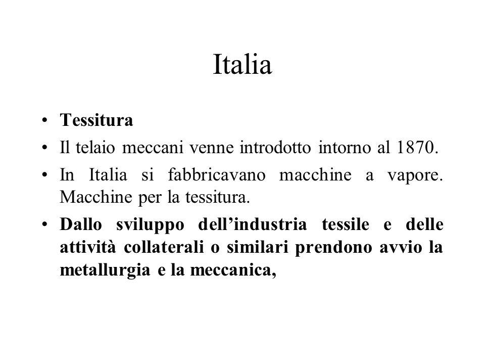 Italia Tessitura Il telaio meccani venne introdotto intorno al 1870. In Italia si fabbricavano macchine a vapore. Macchine per la tessitura. Dallo svi