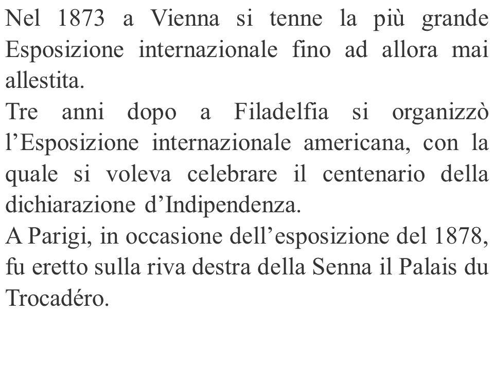 Nel 1873 a Vienna si tenne la più grande Esposizione internazionale fino ad allora mai allestita. Tre anni dopo a Filadelfia si organizzò lEsposizione