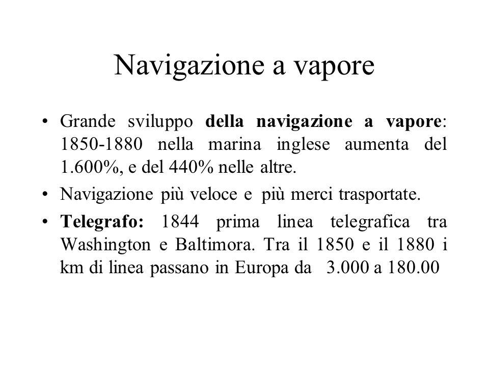 Navigazione a vapore Grande sviluppo della navigazione a vapore: 1850-1880 nella marina inglese aumenta del 1.600%, e del 440% nelle altre. Navigazion