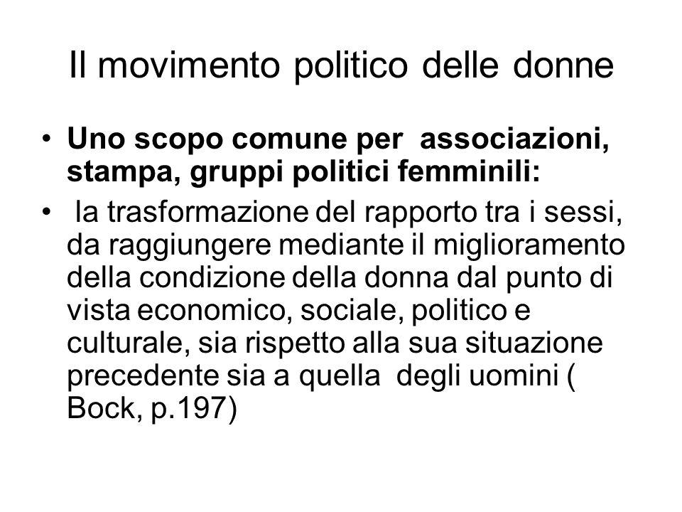 Uno scopo comune per associazioni, stampa, gruppi politici femminili: la trasformazione del rapporto tra i sessi, da raggiungere mediante il miglioram