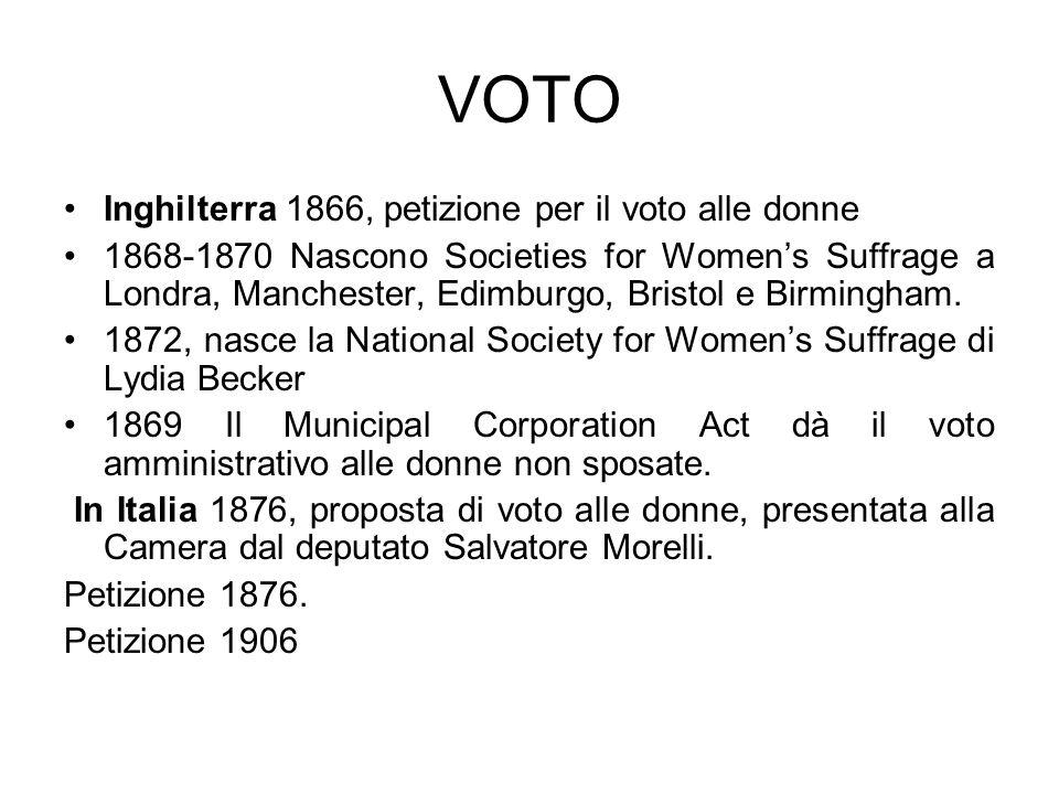 VOTO Inghilterra 1866, petizione per il voto alle donne 1868-1870 Nascono Societies for Womens Suffrage a Londra, Manchester, Edimburgo, Bristol e Birmingham.