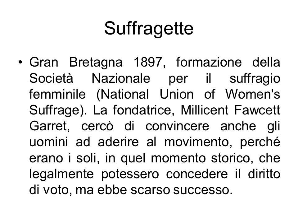 Suffragette Gran Bretagna 1897, formazione della Società Nazionale per il suffragio femminile (National Union of Women s Suffrage).