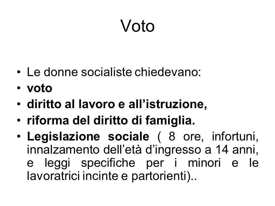 Voto Le donne socialiste chiedevano: voto diritto al lavoro e allistruzione, riforma del diritto di famiglia. Legislazione sociale ( 8 ore, infortuni,
