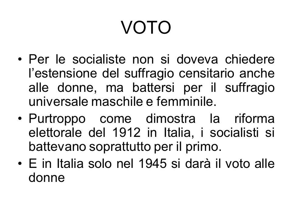 VOTO Per le socialiste non si doveva chiedere lestensione del suffragio censitario anche alle donne, ma battersi per il suffragio universale maschile e femminile.