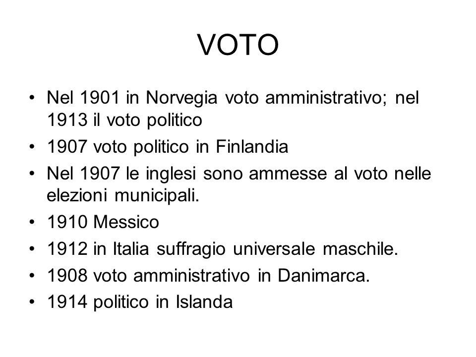 VOTO Nel 1901 in Norvegia voto amministrativo; nel 1913 il voto politico 1907 voto politico in Finlandia Nel 1907 le inglesi sono ammesse al voto nelle elezioni municipali.