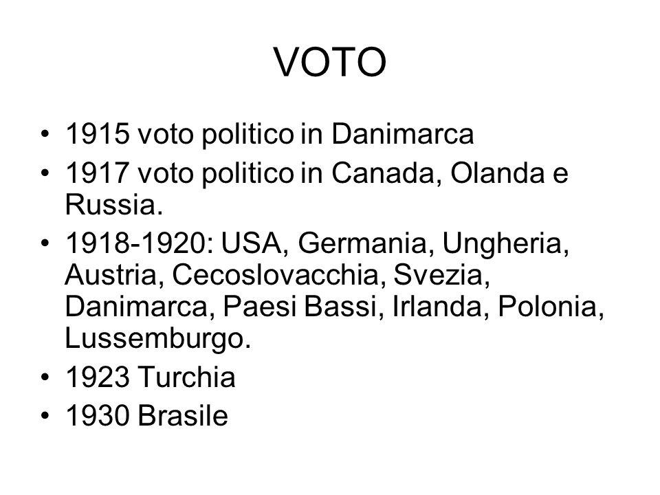 VOTO 1915 voto politico in Danimarca 1917 voto politico in Canada, Olanda e Russia. 1918-1920: USA, Germania, Ungheria, Austria, Cecoslovacchia, Svezi