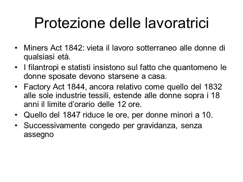 Protezione delle lavoratrici Miners Act 1842: vieta il lavoro sotterraneo alle donne di qualsiasi età. I filantropi e statisti insistono sul fatto che