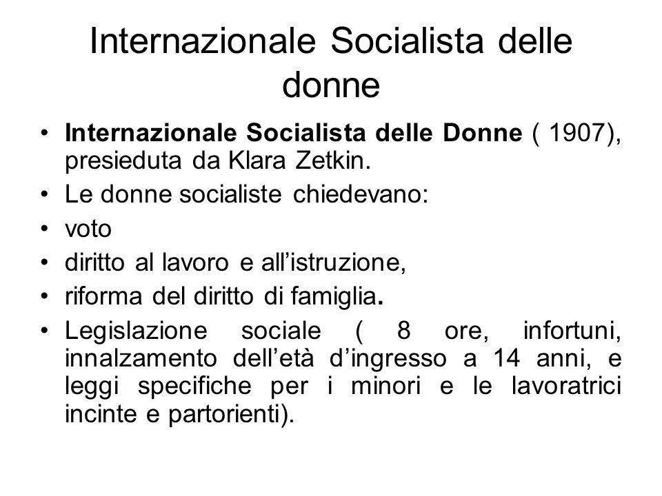 Internazionale Socialista delle donne Internazionale Socialista delle Donne ( 1907), presieduta da Klara Zetkin. Le donne socialiste chiedevano: voto