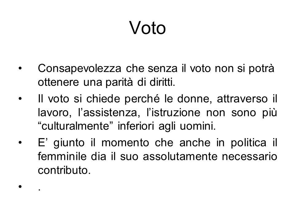 Voto Consapevolezza che senza il voto non si potrà ottenere una parità di diritti. Il voto si chiede perché le donne, attraverso il lavoro, lassistenz