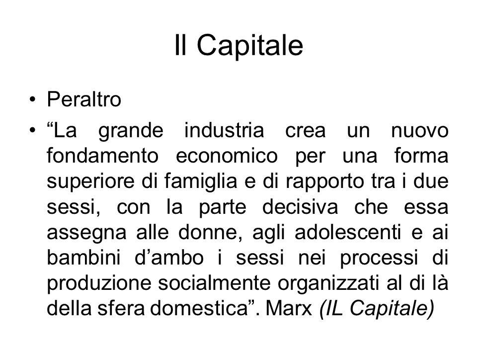 Il Capitale Peraltro La grande industria crea un nuovo fondamento economico per una forma superiore di famiglia e di rapporto tra i due sessi, con la