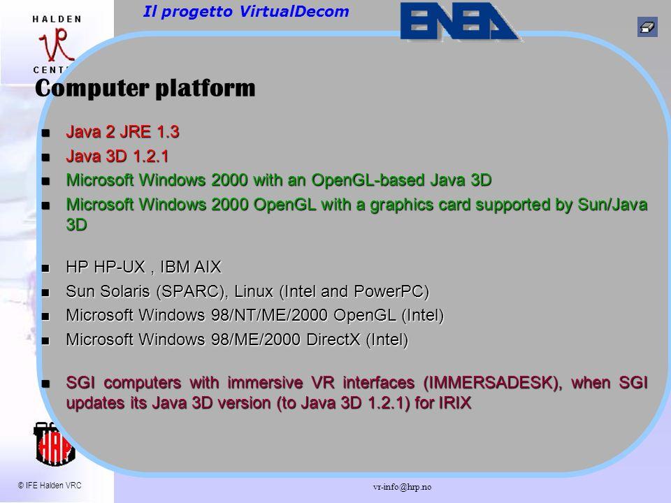 © IFE Halden VRC vr-info@hrp.no CAD della Glove Box Il progetto VirtualDecom