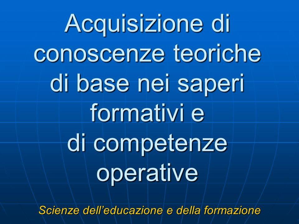 Acquisizione di conoscenze teoriche di base nei saperi formativi e di competenze operative