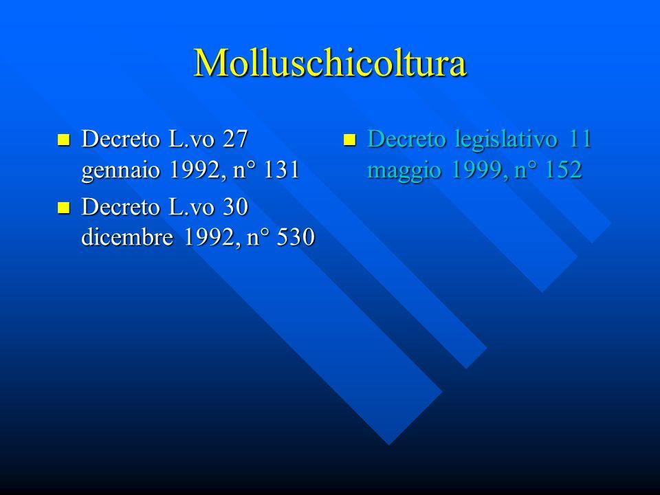 Molluschicoltura Decreto L.vo 27 gennaio 1992, n° 131 Decreto L.vo 27 gennaio 1992, n° 131 Decreto L.vo 30 dicembre 1992, n° 530 Decreto L.vo 30 dicembre 1992, n° 530 Decreto legislativo 11 maggio 1999, n° 152