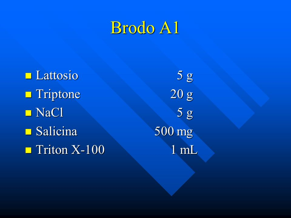 Brodo A1 Lattosio 5 g Lattosio 5 g Triptone20 g Triptone20 g NaCl 5 g NaCl 5 g Salicina 500 mg Salicina 500 mg Triton X-1001 mL Triton X-1001 mL