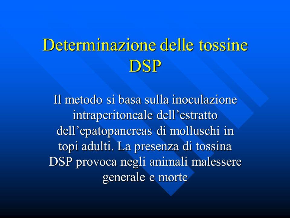 Determinazione delle tossine DSP Il metodo si basa sulla inoculazione intraperitoneale dellestratto dellepatopancreas di molluschi in topi adulti.
