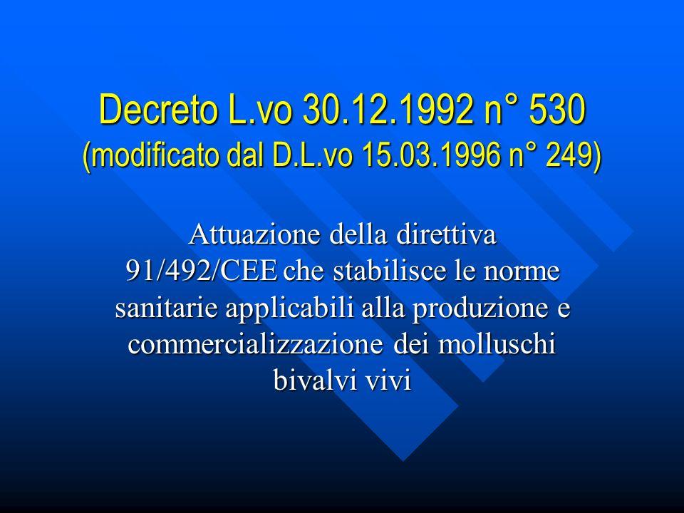 Decreto L.vo 30.12.1992 n° 530 (modificato dal D.L.vo 15.03.1996 n° 249) Attuazione della direttiva 91/492/CEE che stabilisce le norme sanitarie applicabili alla produzione e commercializzazione dei molluschi bivalvi vivi