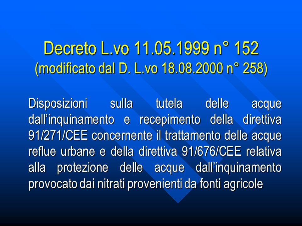 Decreto L.vo 11.05.1999 n° 152 (modificato dal D.