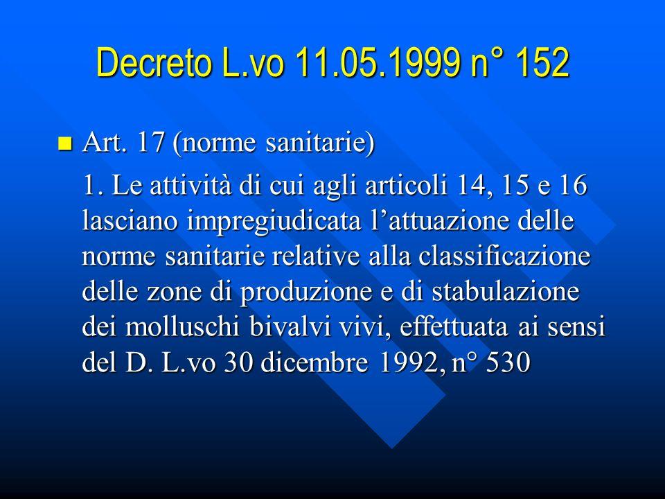 Decreto L.vo 11.05.1999 n° 152 Art.17 (norme sanitarie) Art.