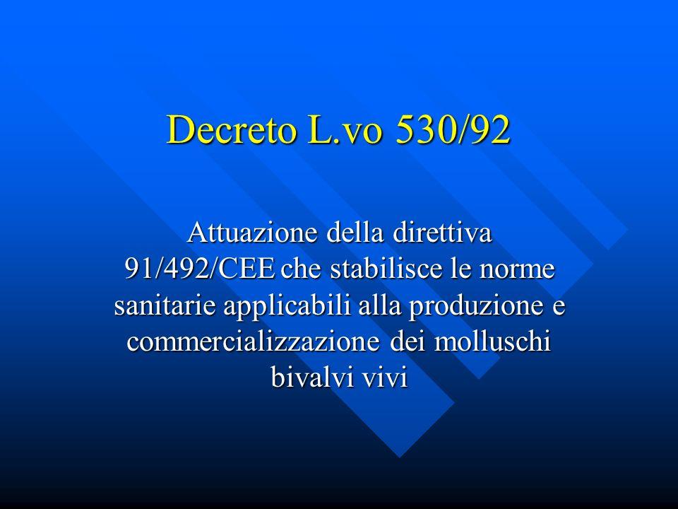 Decreto L.vo 530/92 Attuazione della direttiva 91/492/CEE che stabilisce le norme sanitarie applicabili alla produzione e commercializzazione dei molluschi bivalvi vivi