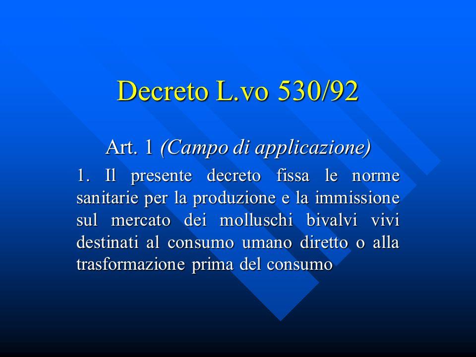 Decreto L.vo 530/92 Art.1 (Campo di applicazione) 1.
