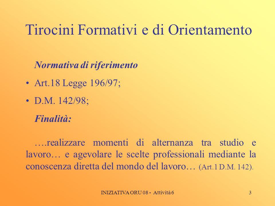 3 Tirocini Formativi e di Orientamento Normativa di riferimento Art.18 Legge 196/97; D.M.