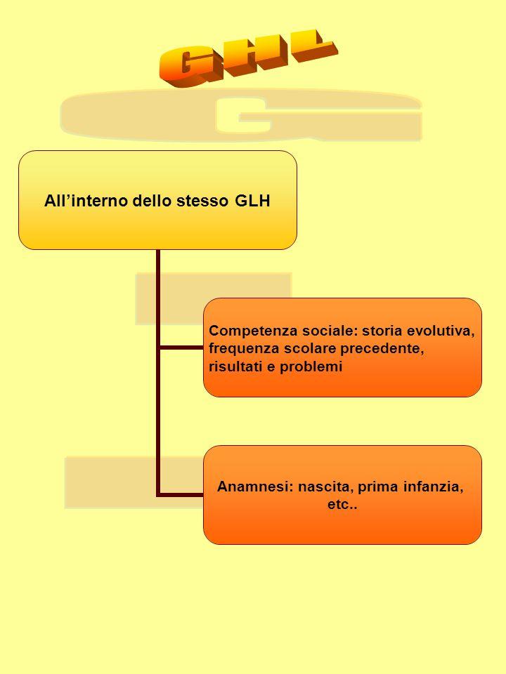 Allinterno dello stesso GLH Competenza sociale: storia evolutiva, frequenza scolare precedente, risultati e problemi Anamnesi: nascita, prima infanzia, etc..