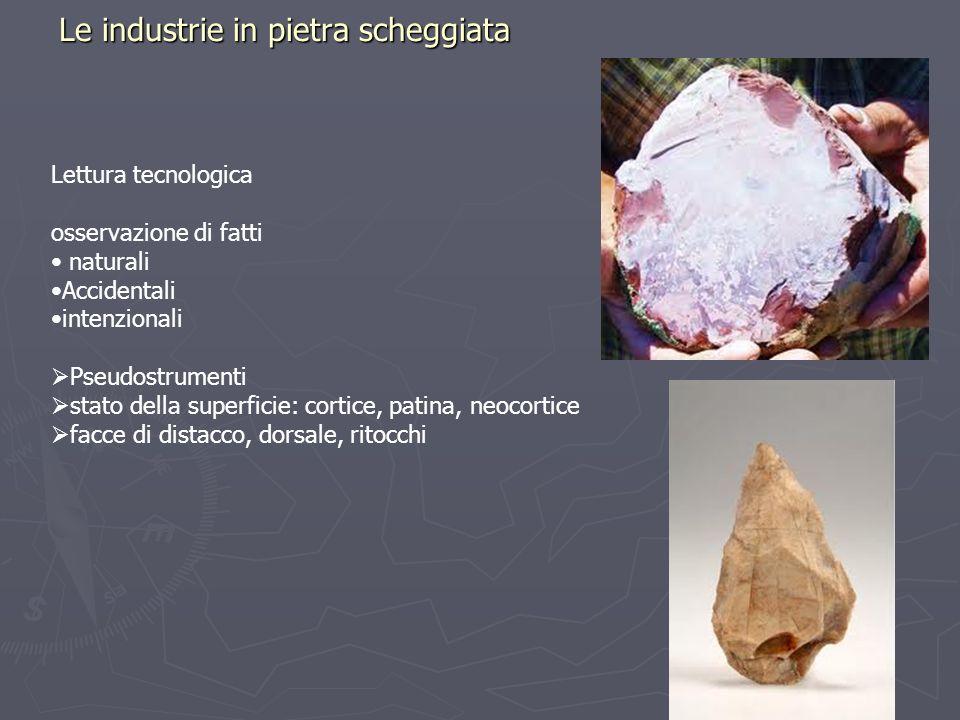 Le industrie in pietra scheggiata Lettura tecnologica osservazione di fatti naturali Accidentali intenzionali Pseudostrumenti stato della superficie: