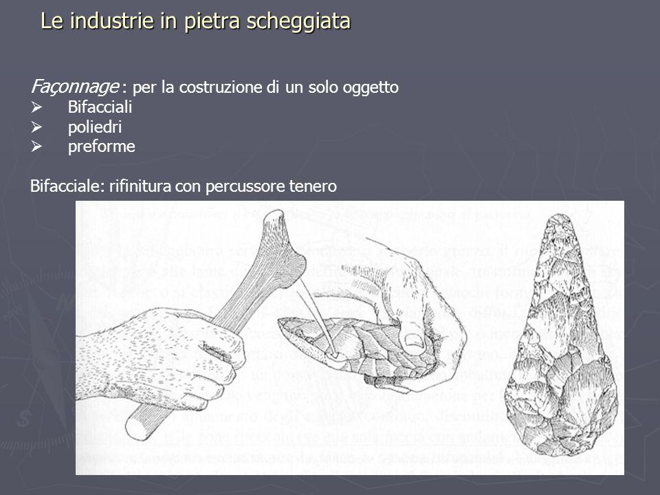 Le industrie in pietra scheggiata Façonnage : per la costruzione di un solo oggetto Bifacciali poliedri preforme Bifacciale: rifinitura con percussore