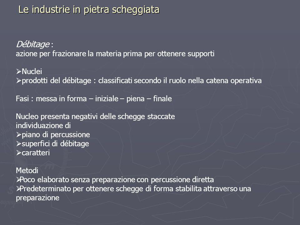 Le industrie in pietra scheggiata Débitage : azione per frazionare la materia prima per ottenere supporti Nuclei prodotti del débitage : classificati