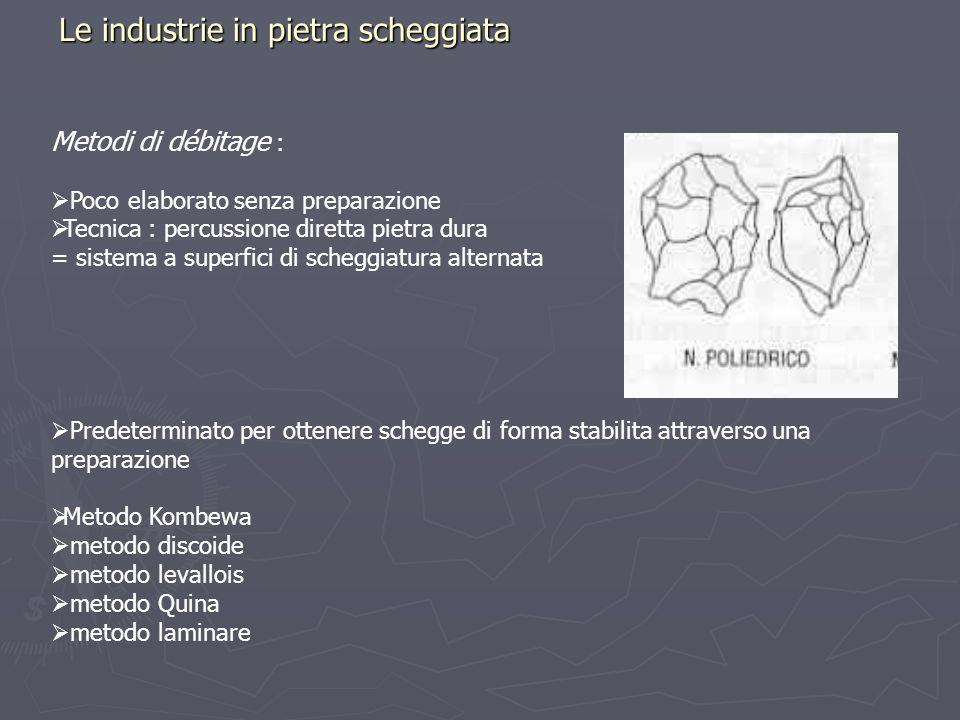 Le industrie in pietra scheggiata Metodi di débitage : Poco elaborato senza preparazione Tecnica : percussione diretta pietra dura = sistema a superfi