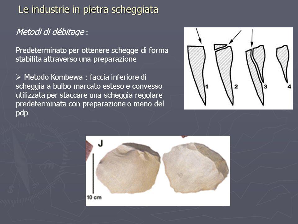 Le industrie in pietra scheggiata Metodi di débitage : Predeterminato per ottenere schegge di forma stabilita attraverso una preparazione Metodo Kombe