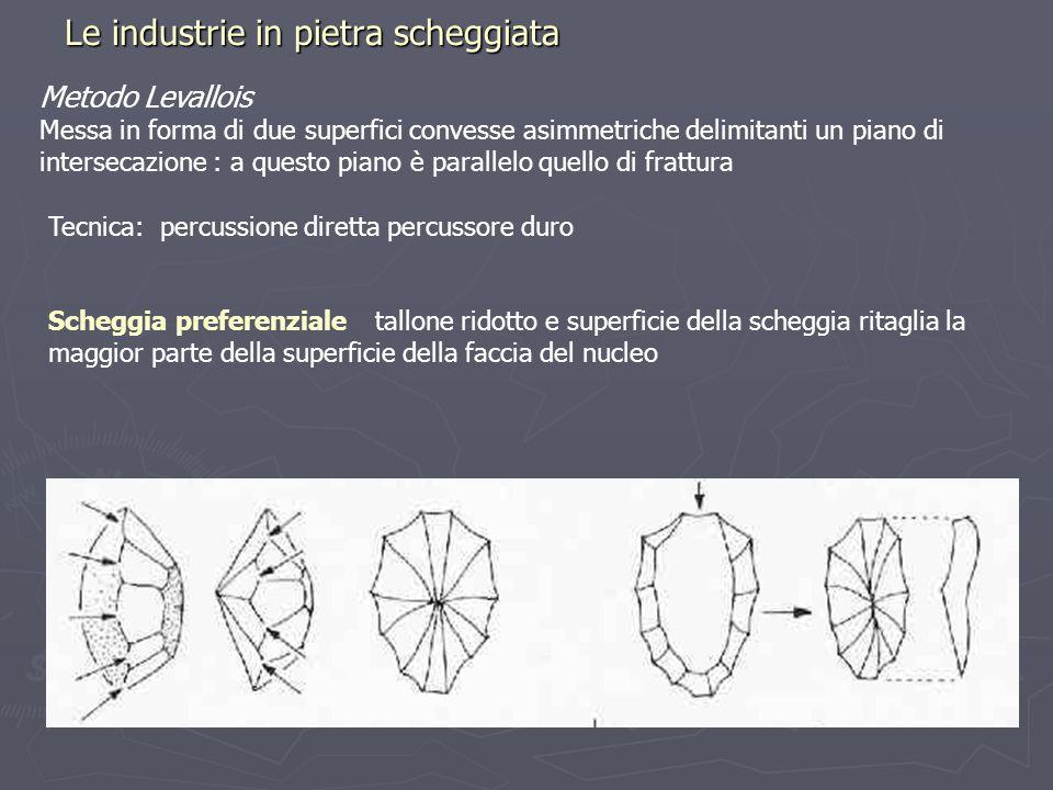 Le industrie in pietra scheggiata Metodo Levallois Messa in forma di due superfici convesse asimmetriche delimitanti un piano di intersecazione : a qu
