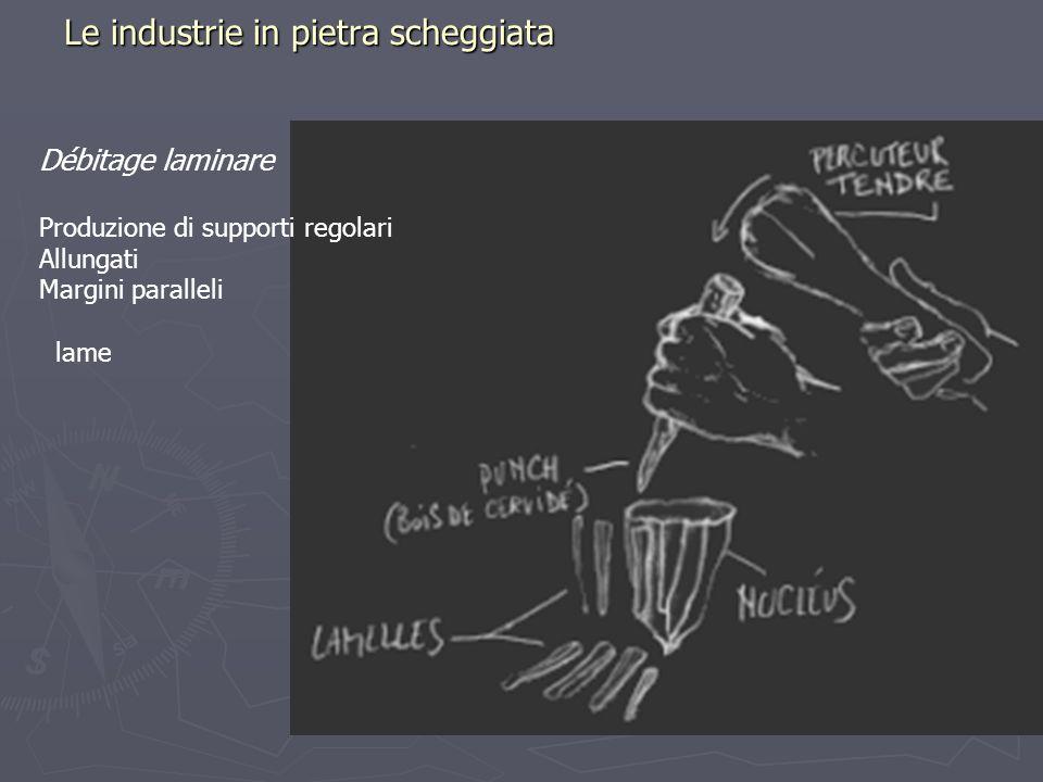 Le industrie in pietra scheggiata Débitage laminare Produzione di supporti regolari Allungati Margini paralleli lame